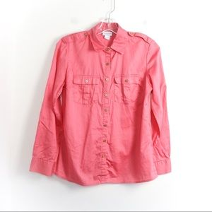 Jaclyn Smith light cotton pink gold buttons loose